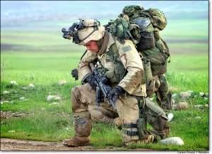 burdened soldier